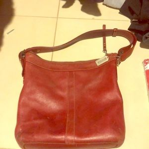 Coach all leather red bag